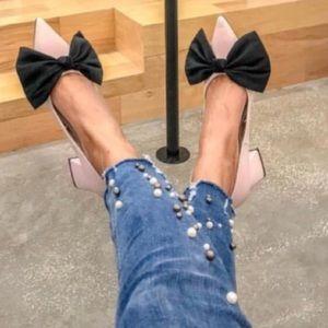Zara's Pretty Bow/ Pale Pink Low Blocked Pumps US6